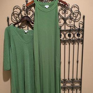 J Jill 2 Piece Green Sweater Dress Set